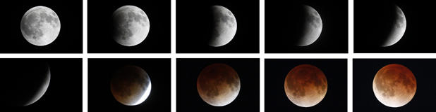 Photo show a time lapse of the moon during a total lunar eclipse