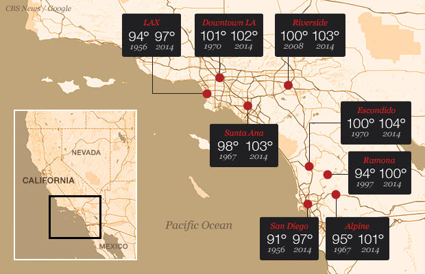 Southern California record temperatures