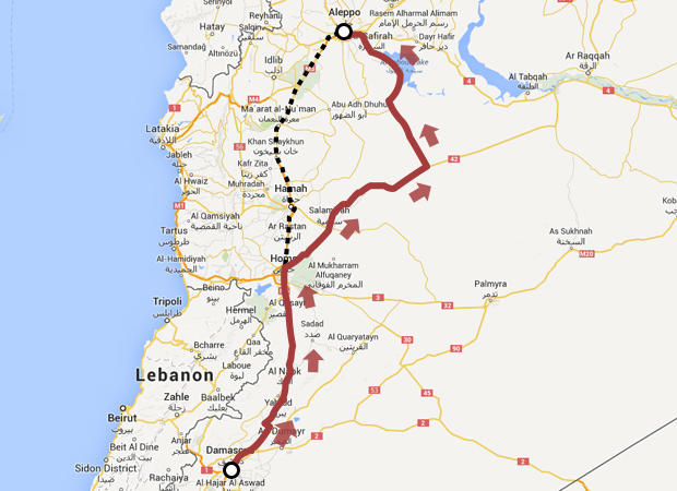 The highway from Damascus to Aleppo is seen in yellow and black, and in red, the route CBS News' crew had to take to avoid the war zone.