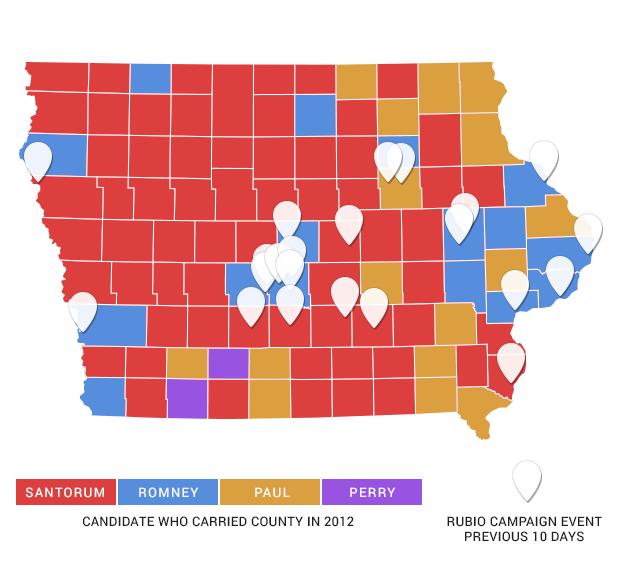 Marco Rubio Uses Mitt Romney39s Iowa Map In Final Days