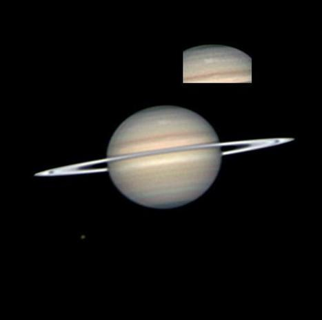 Saturn and its Moons Viewed from Cassini Spacecraft