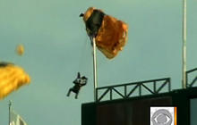 Parachute Snagged on Flagpole