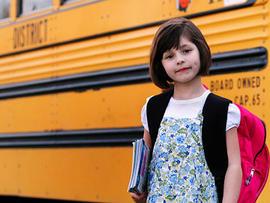school child, school bus, backpack