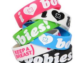 I (Heart) Boobies bracelets hope to raise money for breast cancer.
