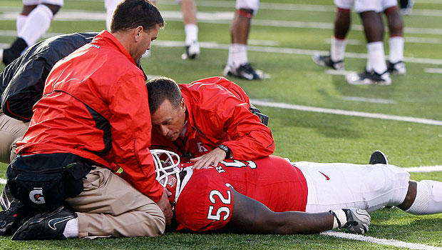 Rutgers tackle Eric LeGrand lay motionless Oct. 16, 2010. He is paralyzed below the neck.
