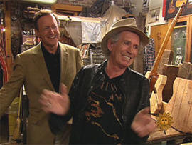 Rolling Stones guitarist Keith Richards at the Carmine Street Guitar Shop in New York.