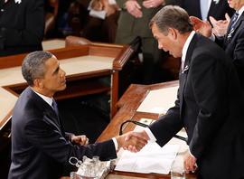 U.S. President Barack Obama shakes hands with Speaker of the House John Boehner