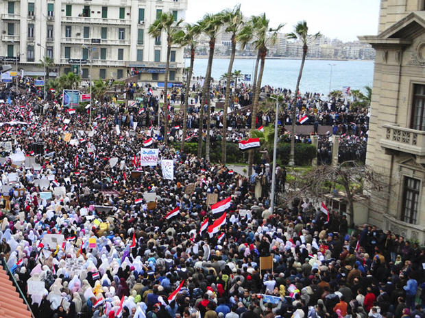 Alexandria, Egypt, anti-government demonstrations, corrected