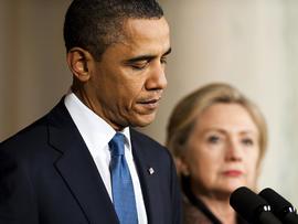 US President Barack Obama makes a statement on Libya with US Secretary of State Hillary Clinton