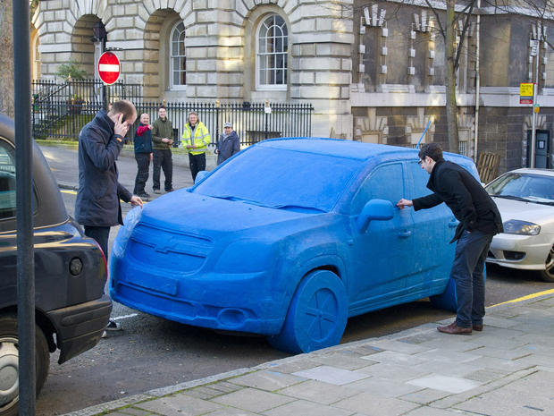 Life-size Play-Doh Chevy Orlando in the streets of London March 9, 2011