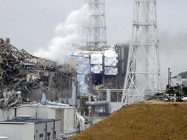 Smoke rises from the Fukushima Dai-ichi nuclear complex