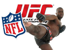 Kick boxer kicking NFL logo