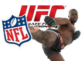 Kick boxer kicking NFL logo
