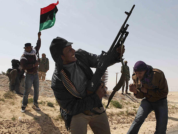 Libyan rebels celebrate in the city of Ajdabiya, south of Benghazi, eastern Libya