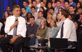 President Obama and Facebook chief executive Mark Zuckerberg hold town hall in Palo Alto.
