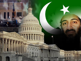 Capitol Hill Dome and Flag of Pakistan and US. Osama bin Laden and the compound he killed in.