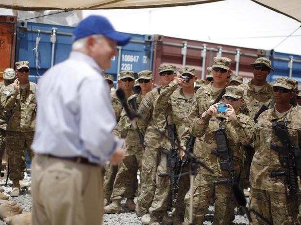 Secretary of Defense Robert Gates talks to troops in Afghanistan