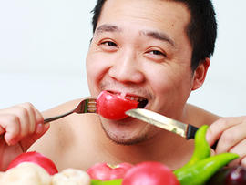 happy, man, eating, vegetables, healthy, veggies, asian, stock, 4x3