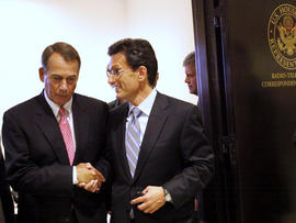 House Speaker John Boehner of Ohio, left, shakes hands with House Majority Leader Eric Cantor of Virginia as they leave a news conference on Capitol Hill in Washington Aug. 1, 2011.