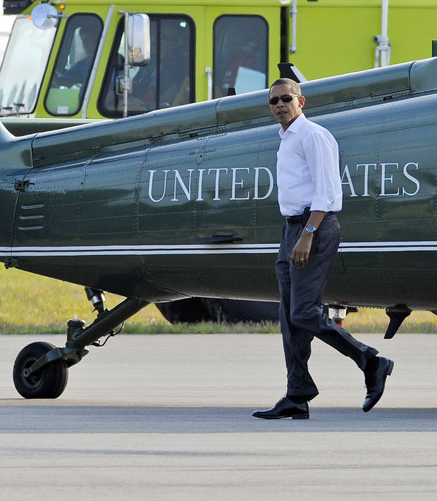 President Obama arrives at Martha's Vineyard.