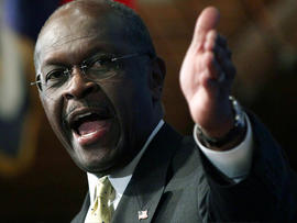 WASHINGTON, DC - OCTOBER 31: Republican presidential candidate Herman Cain speaks at the National Press Club October 31, 2011 in Washington, DC. During a question and answer portion of the program, Cain called the accusations of sexual harassment against him 'a witch hunt'.