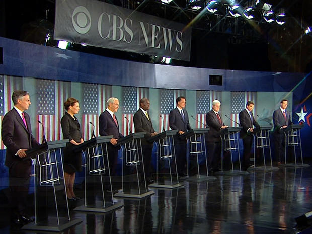 Eight candidates for the Republican nomination for president of the United States are seen at the CBS/National Journal Debate in Spartanburg, S.C., Nov. 12, 2011.