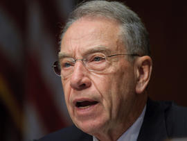 Senator Chuck Grassley, R-IA, questions a witness during a Senate Judiciary Committee's Antitrust, Competition Policy and Consumer Rights Subcommittee, hearing on the AT&T/T-Mobile merger, on May 11, 2011 in the Dirksen Senate Office Building on Capitol Hill in Washington, DC.