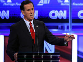 Former Pennsylvania Sen. Rick Santorum speaks during a Republican presidential debate in Washington Nov. 22, 2011.