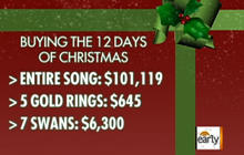 12 days of christmas gifts cost over 100k cbs news. Black Bedroom Furniture Sets. Home Design Ideas
