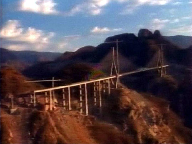 Mexico's Baluarte Bridge is seen in the Sierra Madre Occidental mountains.