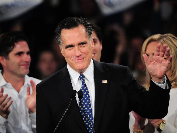 Mitt Romney addresses a primary night victory rally in New Hampshire