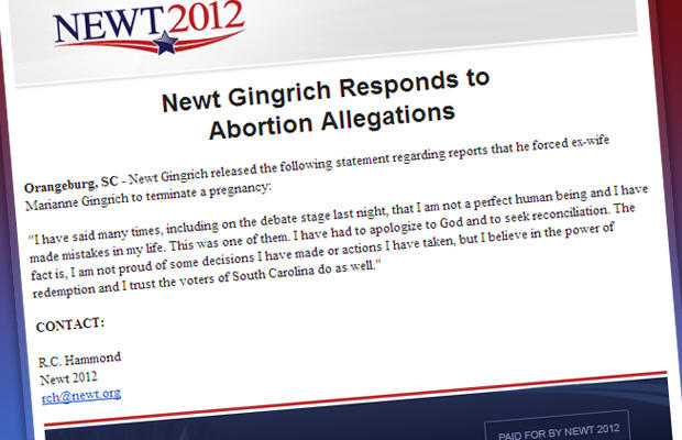 gingrich fake email abortion