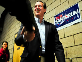 Former Pennsylvania Sen. Rick Santorum arrives at a campaign rally Feb. 7, 2012, in Blaine, Minn.