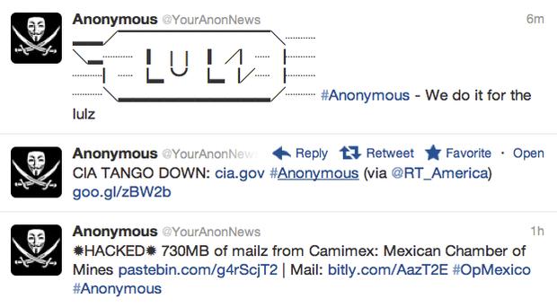这个匿名帐户在Twitter上公布了这些消息的CIA网站中断。