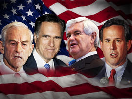 Ron Paul, Mitt Romney, Newt Gingrich and Rick Santorum