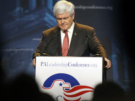 Former Speaker of the House Newt Gingrich speaks during a campaign stop at the Pennsylvania Leadership Conference March 24, 2012, in Camp Hill, Pa.