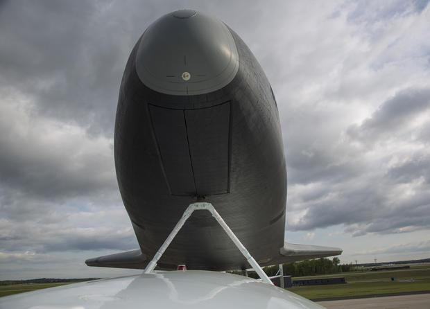 Space shuttle Enterprise flies over NYC