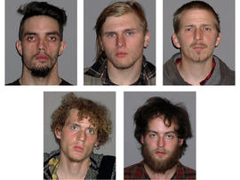 Photos provided by the FBI show, from top left, Douglas Wright, Brandon Baxter and Anthony Hayne and, from bottom left, Joshua Stafford and Connor Stevens, all of whom were arrested April 30, 2012, and accused of plotting to blow up a bridge near Cleveland.