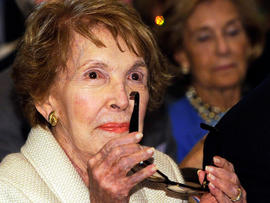 Former first lady Nancy Reagan attends New Jersey Gov. Chris Christie's speech during the Perspectives on Leadership Forum at the Ronald Reagan Presidential Foundation and Library Sept. 27, 2011, in Simi Valley, Calif.