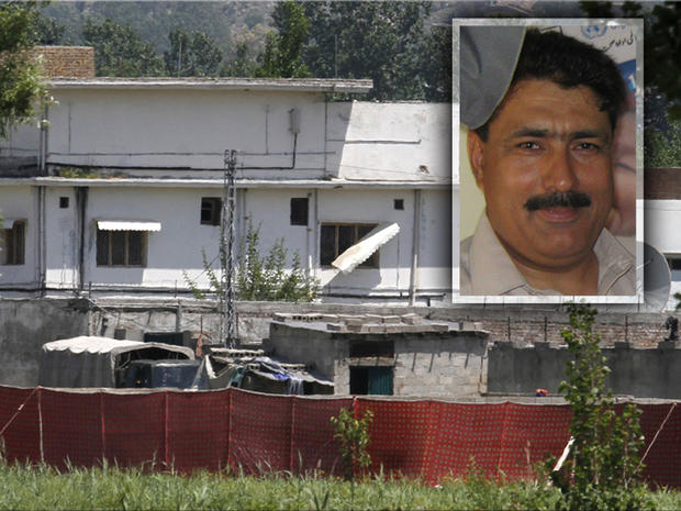 Shakil Afridi seen over an image of Osama bin Laden's now-leveled compound in Abbottabad
