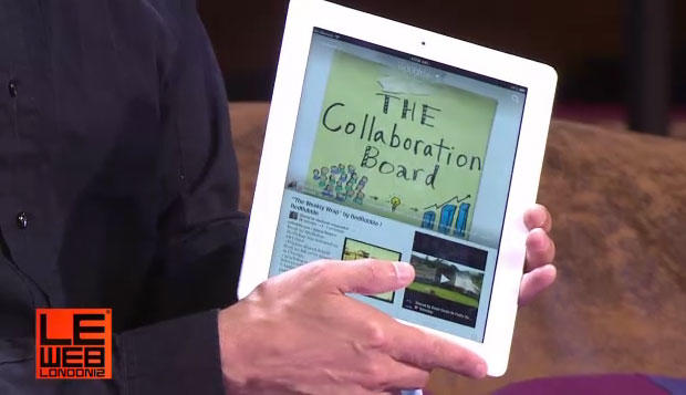 Google+ leader shows off a Google+-enhanced version of the Flipboard app at the LeWeb conference in London.