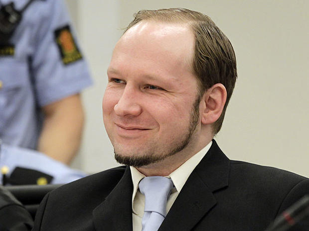 Anders Behring Breivikm reacts in court as prosecutors deliver their closing arguments in the court in Oslo, Norway, June 21, 2012.