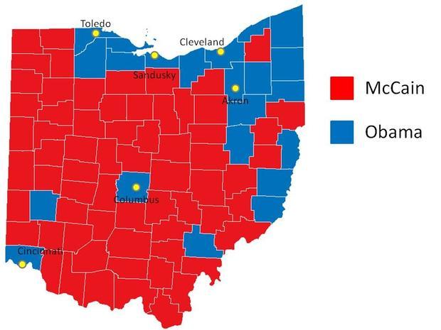 Ohio map 2008 election