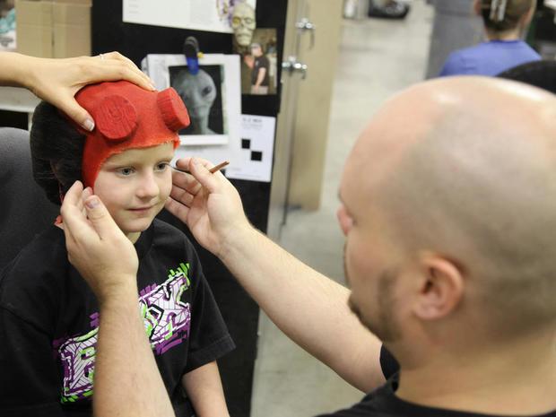 Make-A-Wish recipient Zachary meets Hellboy