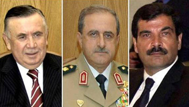 From right to left: Defense Minister General Dawood Abdullah Rajeh, Deputy Defense Minister General Asef Shawkat and head of the Crisis Cell and Assistant to Vice President Farouq al-Sharia, Major General Hassan al-Turkmani.