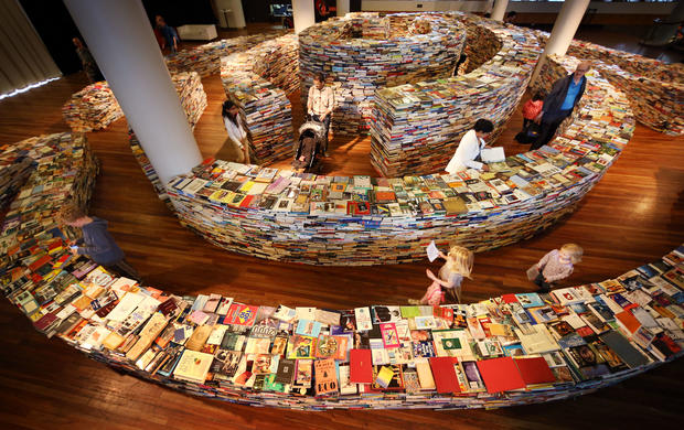 Artists create maze using 250,000 books
