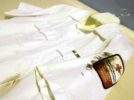A shirt from one of the first responders to the Aug. 1, 2007 Interstate 35W bridge collapse in Minneapolis is part of the collection of artifacts at the Minnesota History Center.