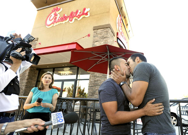 """Kiss-in"" protests at Chick-Fil-A"