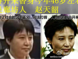 A photo combination reportedly forwarded among Chinese Internet users shows Gu Kailai, the wife of a disgraced politician, in court, left, and an older picture of her, raising suspicions that a body double was used in court.