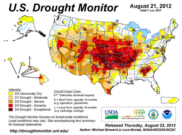 U.S. drought monitor, Aug. 21, 2012